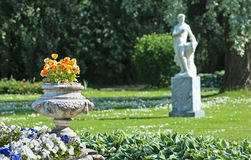 Tsarskoye Selo (Pushkin). Saint-Petersburg, Russia. Fragment of the Fountain-Vase and The Zephyr Sculpturee Stock Photos