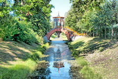 Tsarskoye Selo (Pushkin). Saint-Petersburg, Russia. The Krestovy Bridge Royalty Free Stock Images