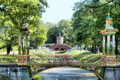 Tsarskoye Selo (Pushkin). Saint-Petersburg, Russia. The Small Chinese Bridge in the Alexander Park Stock Photos