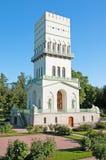 Tsarskoye Selo (Pushkin) St Petersburg, Russland Der weiße Turm in Alexander Park Stockfotografie