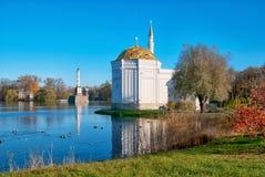 Tsarskoye Selo Pushkin St Petersburg Ryssland planlade bad 52 1850 för den petersburg pushkin russia för I-monighettipaviljongen  Arkivbild