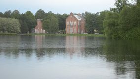 Tsarskoye Selo. Russia. The Great Pond in rainy day stock video
