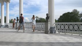 Tsarskoye Selo. Russia. People on Cameron Gallery stock footage