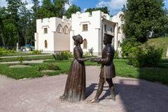 Tsarskoye Selo. Russia. Sculptures Duke of Urbino Federico da Montefeltro and his wife Battista Sforza Duchess diptych by Piero Stock Photo