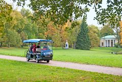 People in the electric car in The Catherine Park. Pushkin. St.Petersburg Royalty Free Stock Images