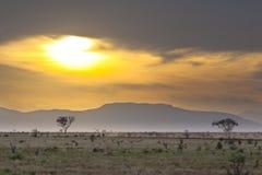 Tsavo East Sunset. Sunset and landscape in Tsavo East National Park in Kenya Stock Photography