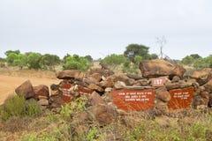 Tsavo nationalparkvägmärke Fotografering för Bildbyråer