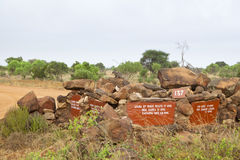 Tsavo parka narodowego Drogowy znak Obraz Stock