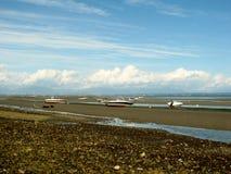 Tsawwassen界限海湾处于低潮中 库存照片