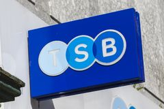 TSB Bank sign. Swansea, Wales, UK, June 30, 2018: TSB Bank sign at there retail financial services branch in Union Street stock photos