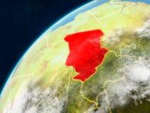 Tschad auf Erde mit Grenzen stockfotos