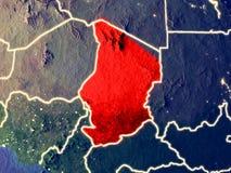 Tschad auf Erde nachts lizenzfreies stockbild