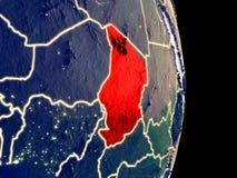 Tschad auf Nachterde lizenzfreies stockfoto