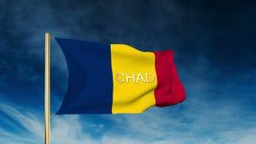 Tschad-Flaggenschieberart mit Titel Wellenartig bewegen in stock video