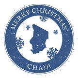 Tschad-Karte Weinlese-frohe Weihnachten Chad Stamp Lizenzfreies Stockbild