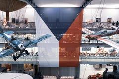 Tschechische Flagge des großen Umfangs in einem Museum lizenzfreies stockfoto