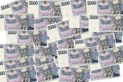5000 tschechische Korunas Banknoten Stockfotos
