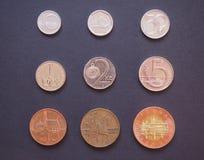 Tschechische Korunas Münzen Stockfoto