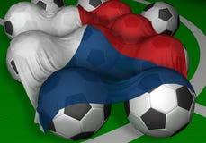 Tschechische Republik 3D-rendering Markierungsfahne und Fußballkugeln Lizenzfreie Stockfotografie
