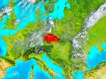 Tschechische Republik im Rot auf Erde Lizenzfreie Stockfotografie