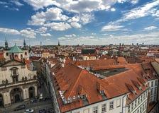 Tschechische Republik Panorama der rechten Bank der Moldaus nahe t Stockfotografie