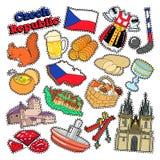 Tschechische Republik-Reise-Elemente mit Architektur Lizenzfreie Stockbilder