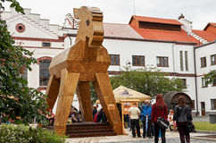Tschechische Republik Velke Popovice Statuen-Ziege 11. Juni 2016 Stockfoto