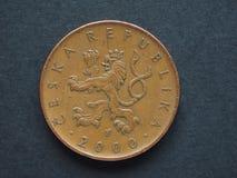 10 tschechischer Koruna u. x28; CZK& x29; Münze Lizenzfreies Stockbild