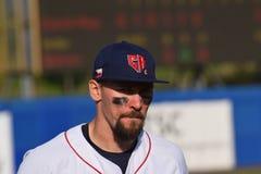 Tschechischer Spieler während des baseballgame in den Super6 zwischen Spanien und Tschechischer Republik stockfoto