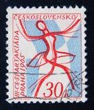 Tschechischer Stempel weihte 3. spartakiada in Prag ein Circa 1965 Lizenzfreies Stockbild