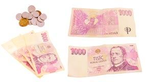 Tschechisches Geld auf weißem Hintergrund Stockfotografie