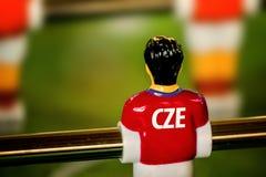 Tschechisches nationales Jersey auf Weinlese Foosball, Tabellen-Fußball-Spiel lizenzfreie stockbilder