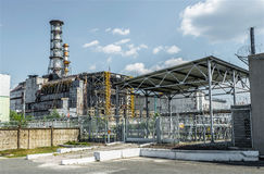 Tschornobyl-Atomreaktor und -Sarkophag Stockbilder