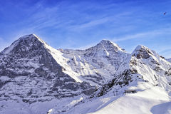 Tschuggen, Monch and Jungfrau peaks in winter Royalty Free Stock Photo