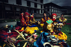 Tsechu festival. Dancer with colorful mask dances at a yearly festival called Tsechu to celebrate Buddhism Royalty Free Stock Photo