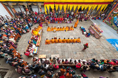 Tsechu festiwal przy jakar Dzong, Bhutan Obrazy Stock