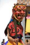 Tsechu i borggården av en buddistisk tempel - Gangtey - Bhutan Royaltyfri Fotografi