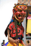 Tsechu no pátio de um templo budista - Gangtey - Butão Fotografia de Stock Royalty Free