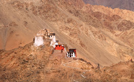 The Tsemo Gompa, Leh. Buddhist gompa atop a hill in the himalayas stock images