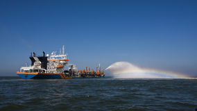 TSHD Geopotes 15. A Trailing suction hopper Dredger at the dutch coast stock photos