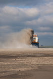 TSHD Utrecht Rainbowing front. A Trailing suction hopper Dredger Rainbowing stock images
