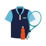 Tshirt bottle water and racket tennis icons Stock Image