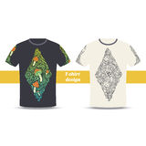 Tshirt Design Five. Design tshirt with a color and black hand drawn pattern of hallucinogenic mushrooms. Located on the white background Royalty Free Stock Photos