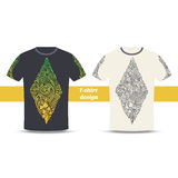 Tshirt Design Four. Design tshirt with a color and black hand drawn pattern of hallucinogenic mushrooms. Located on the white background Royalty Free Stock Photos