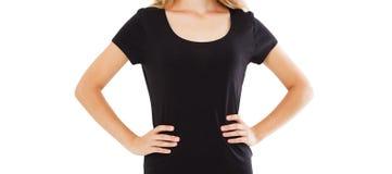 Tshirt dziewczyny egzamin pr?bny w g?r? odosobnionej, czarnej koszulki, fotografia royalty free