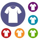 Tshirt icons set. In flat circle reb, blue and green color for web Stock Photography