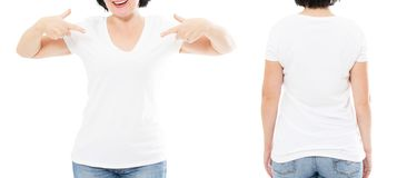 Tshirt set front and back view, middle-aged woman in stylish royalty free stock photo