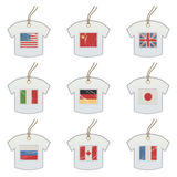 Tshirt tags with flags Stock Images