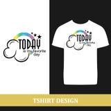 Tshirtdesign i dag stock illustrationer