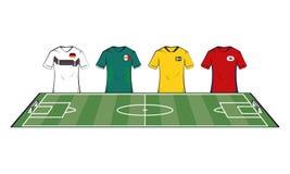 Tshirts das equipes de futebol ilustração stock